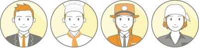 輪郭線あり+3色の人物アイコン 各業種